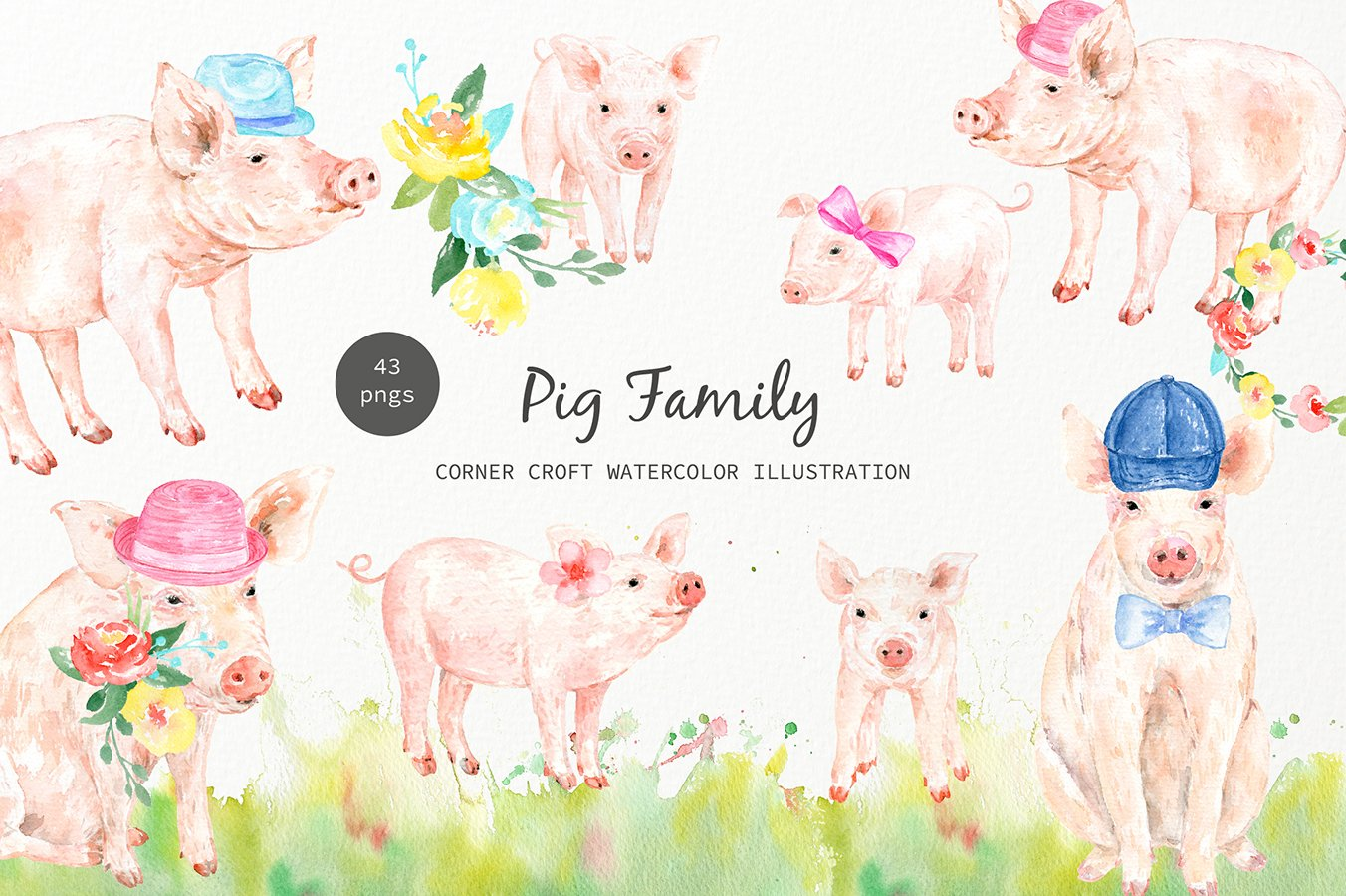 Watercolor pig family clipart for instant download.