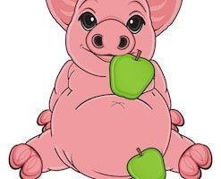 Pig with apple in its mouth clipart 7 » Clipart Portal.