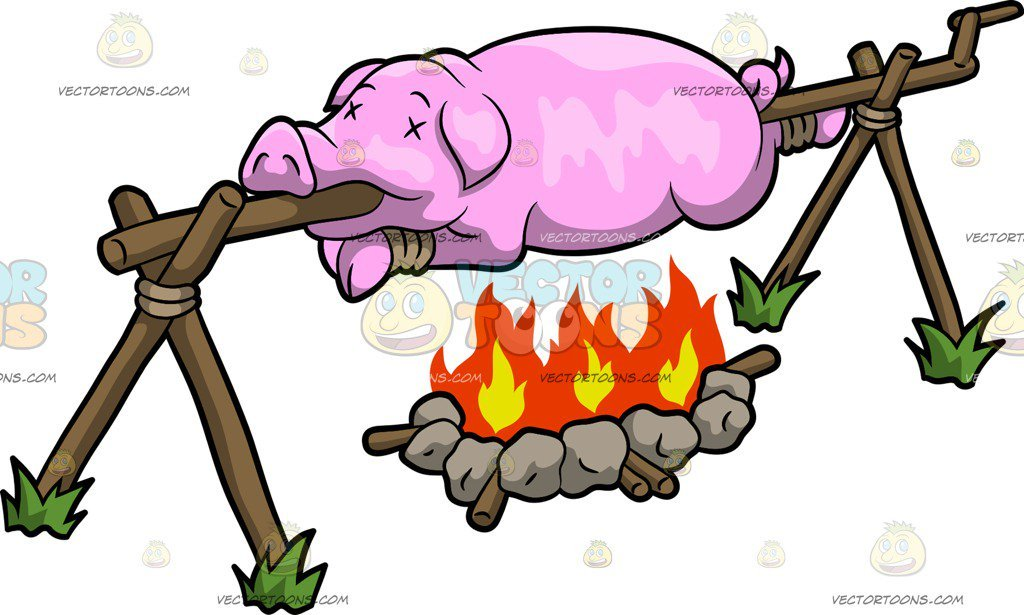 A Pig Roasting Over A Fire.