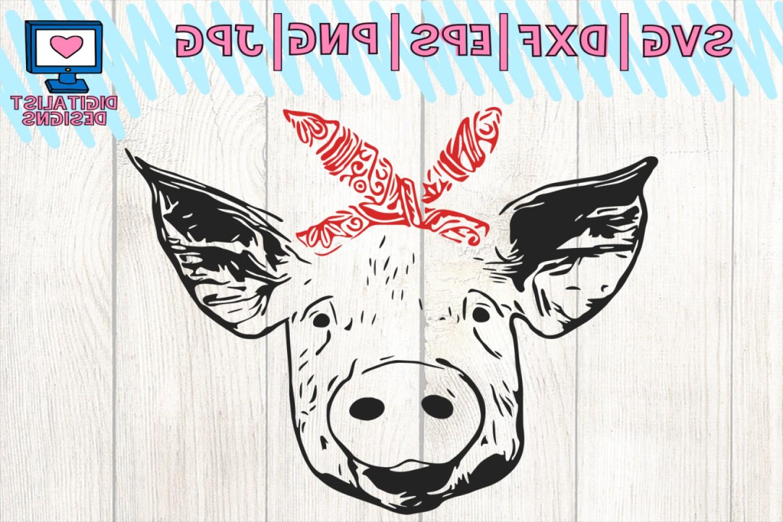 Pig Svg Pig Clipart Pig Face Svg Svg Files Bandana Farm Svg.