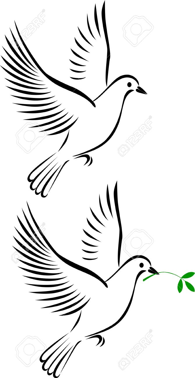 White Pigeon Flying Clipart.
