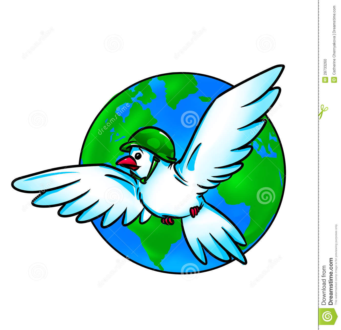 Pigeon Globe War And Peace Stock Photo.