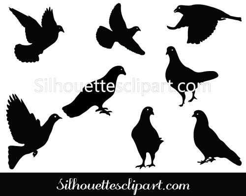 Pigeon Silhouette Clip Art Pack Download Pigeon Vectors.