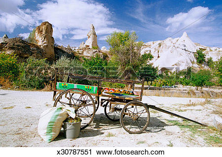 Stock Photography of Turkey, Cappadocia, Pigeon Valley, Cart in a.