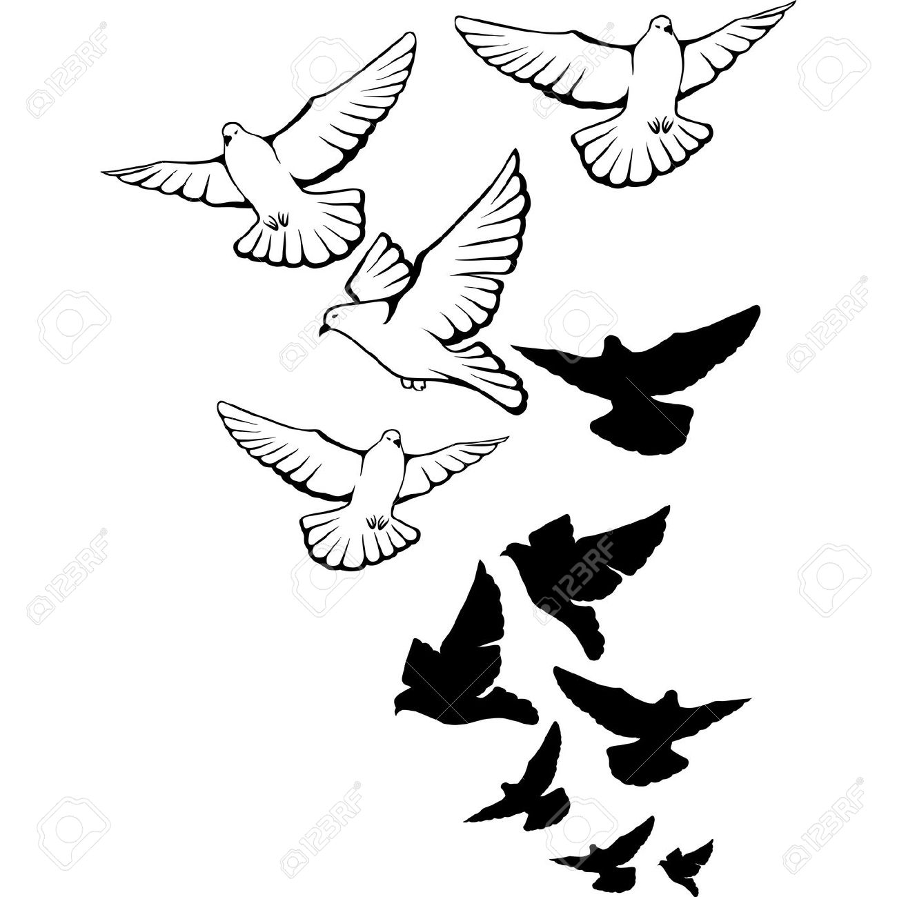 Pigeons flying in the sky clipart.