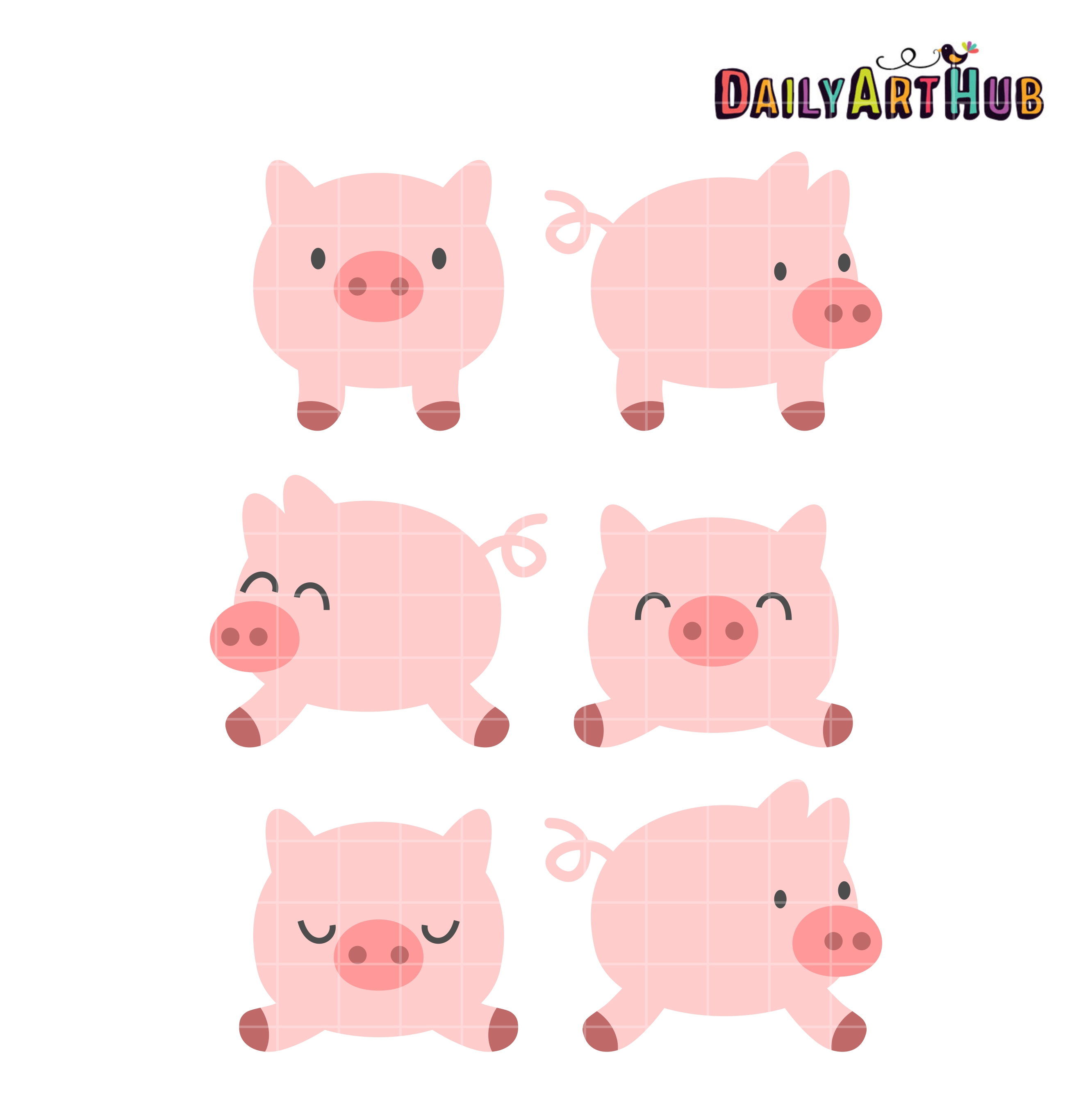 Piggies Clip Art Set.