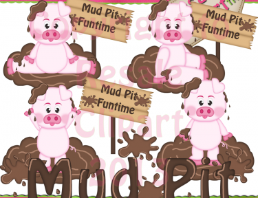 Mud Pit Piggies Clipart.
