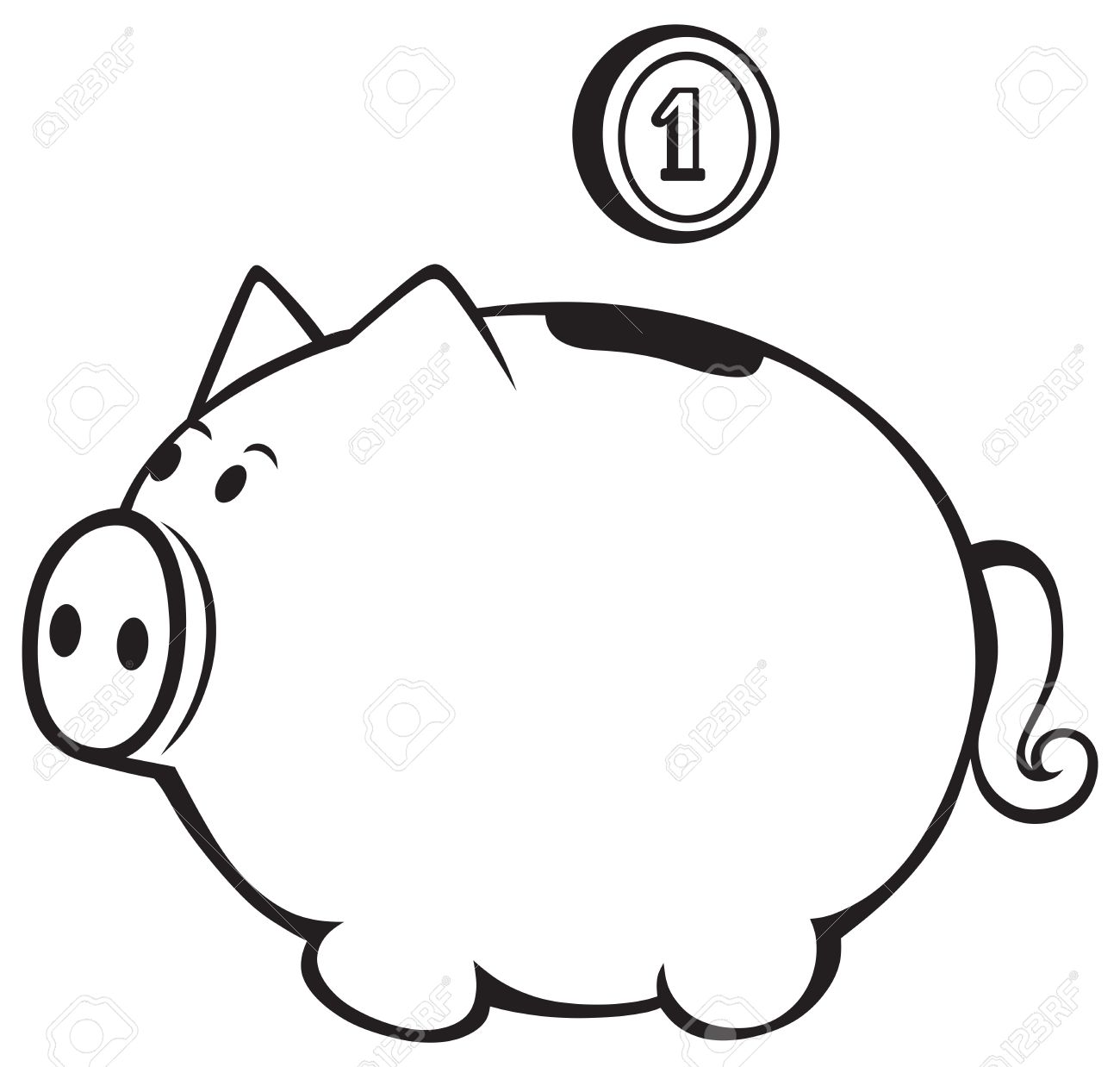 Piggy bank clipart black and white 5 » Clipart Station.
