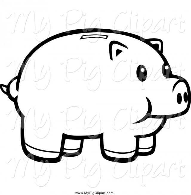 Piggy Bank Clip Art Black And White.