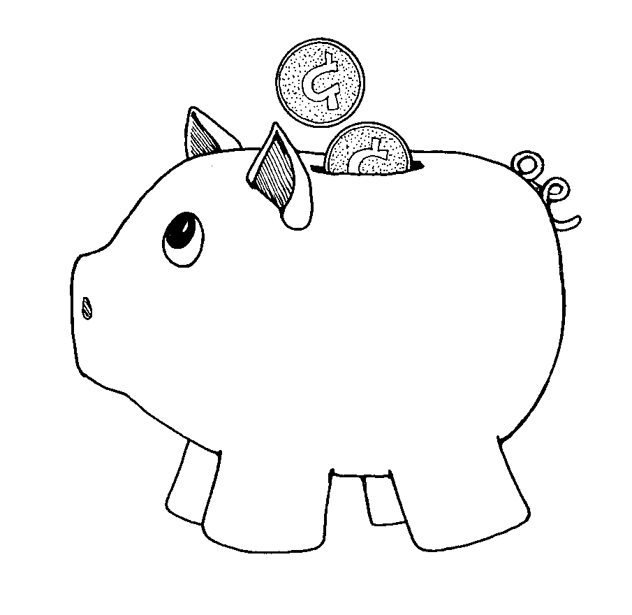 Piggy bank black and white free download clip art.