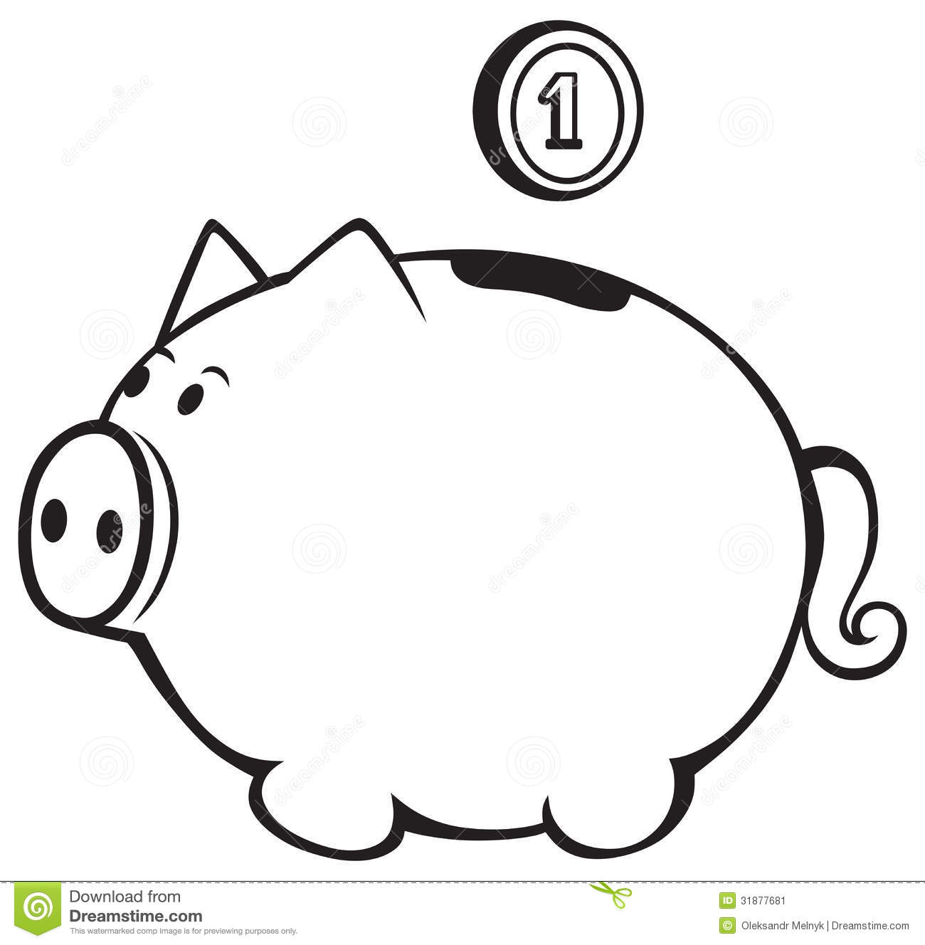 Free Piggy Bank Black And White, Download Free Clip Art.