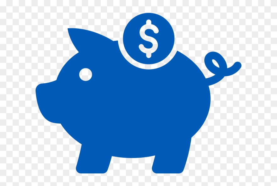 Icon Of Blue Piggy Bank With Money.