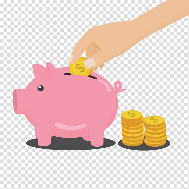 Piggy bank and coins illustration, Money Piggy bank, piggy.