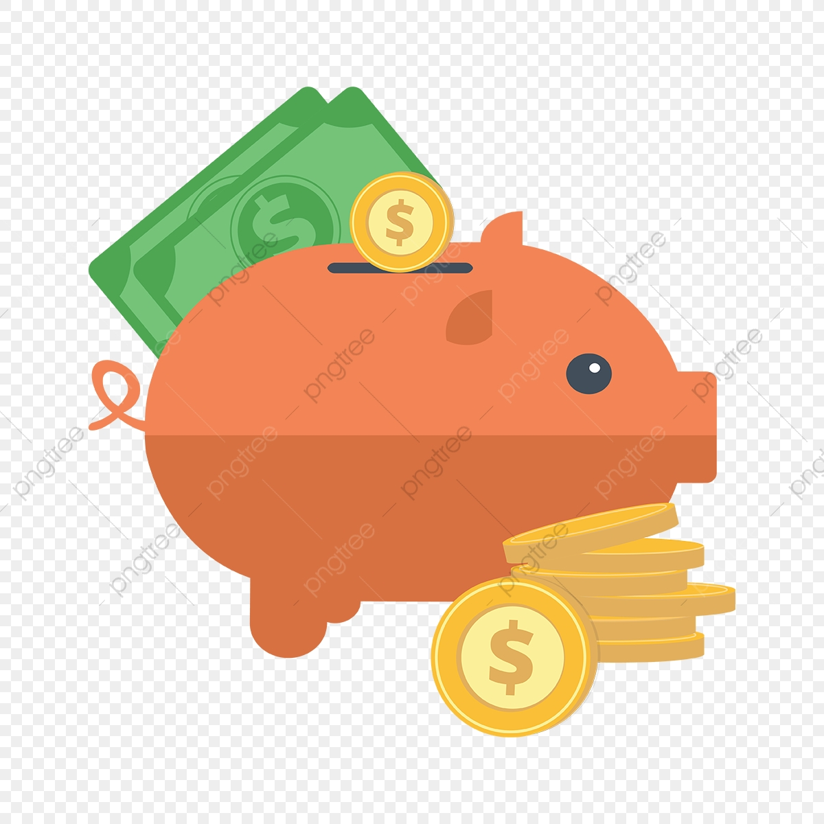 Piggy Bank With Coins, Cartoon, Piggy, Piggy Bank PNG and.