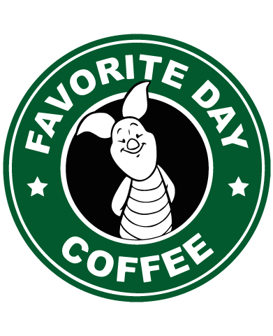 Starbucks Inspired Piglet Coffee Logo.
