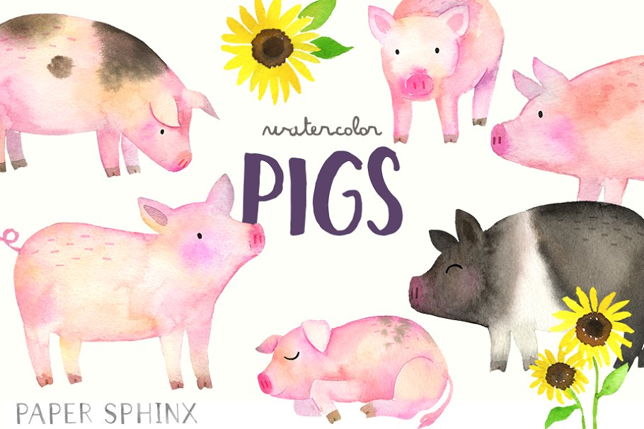 Watercolor Pigs Clipart Pack.