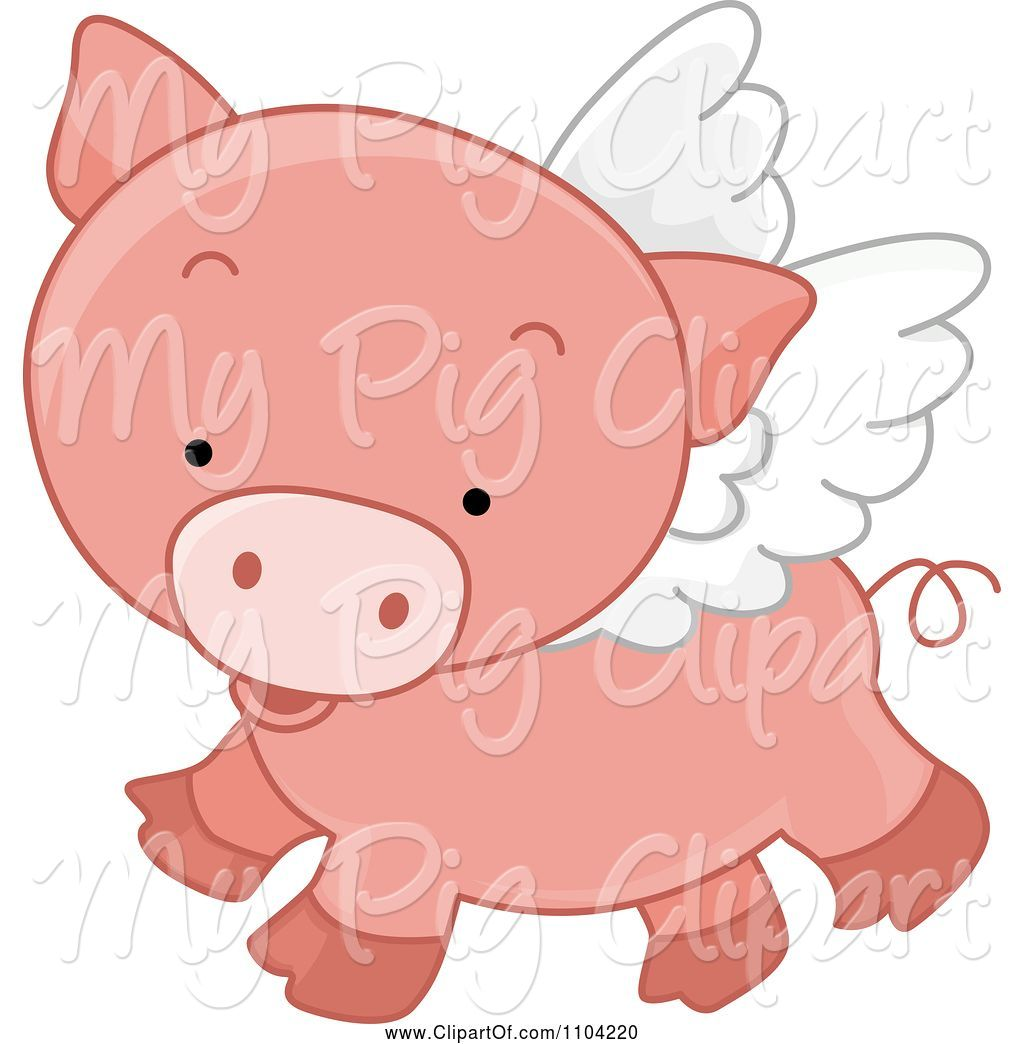 Swine Clipart of Cute Cartoon Winged Pig Flying by BNP.