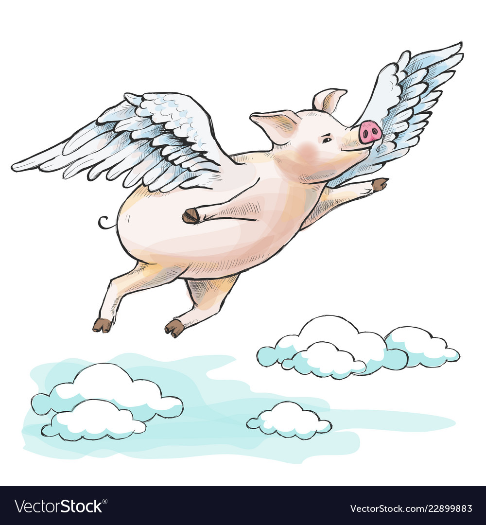 When pigs fly a fat piglet is flying among.