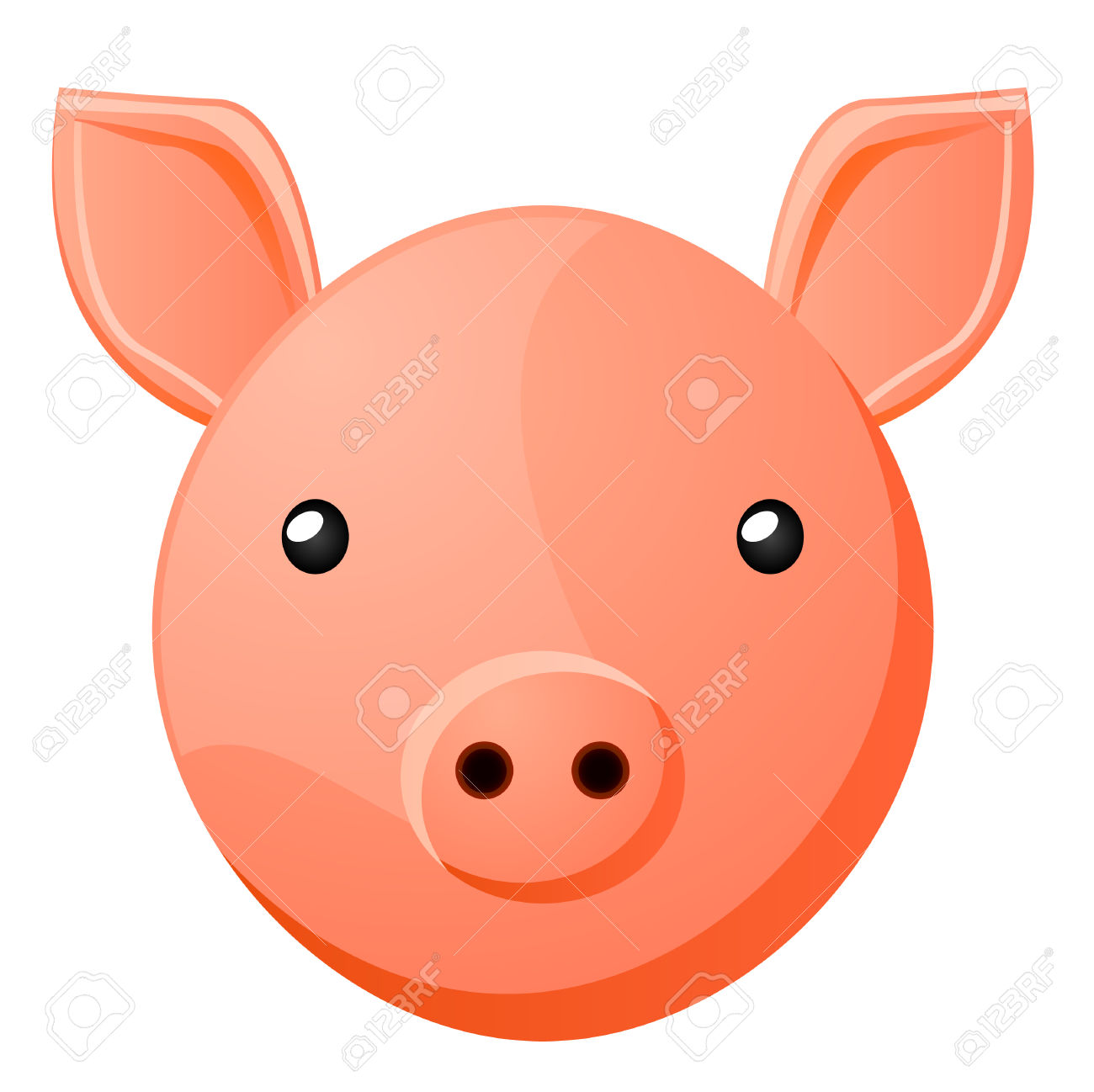 Pig Head Clip Art Icon Stock Photo, Picture And Royalty Free Image.