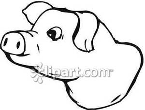 Pig head on a stick clipart.