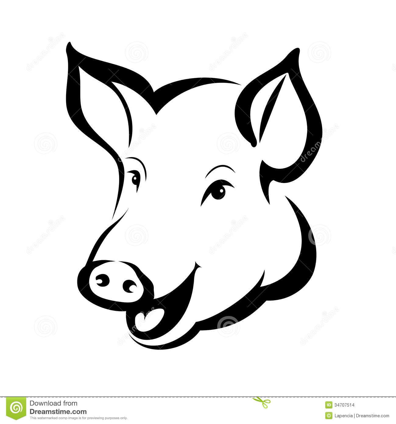 Pig head clip art.