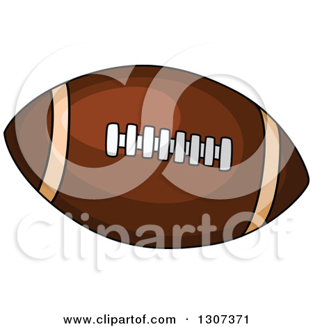 Clipart of a Cartoon Pigskin American Football.