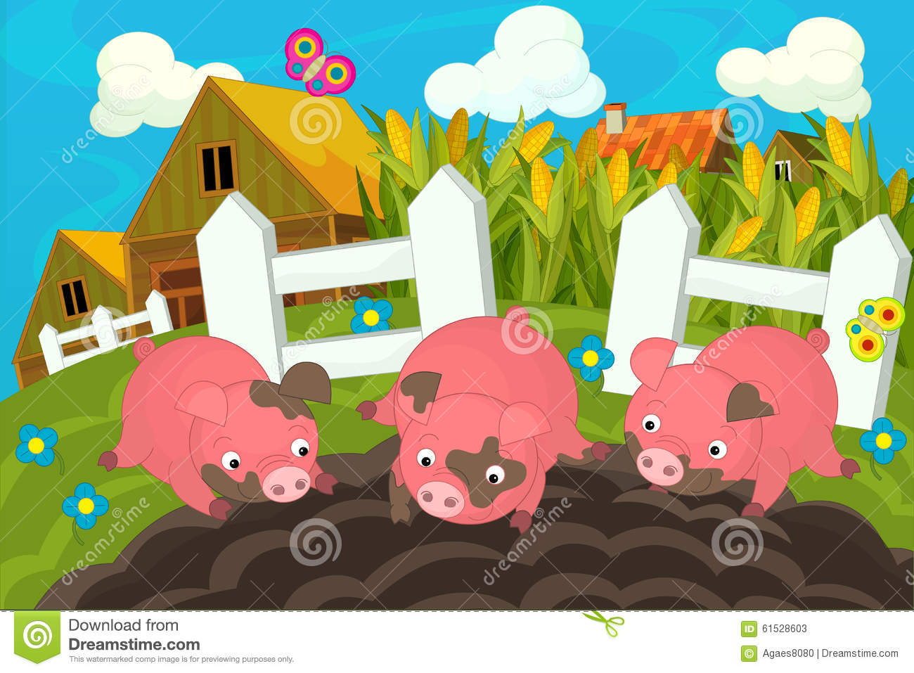 Pigs Pigsty Stock Illustrations.