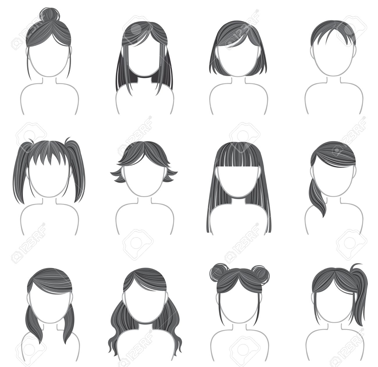 Silhouette Hairstyle Icon Collection Set Royalty Free Cliparts.