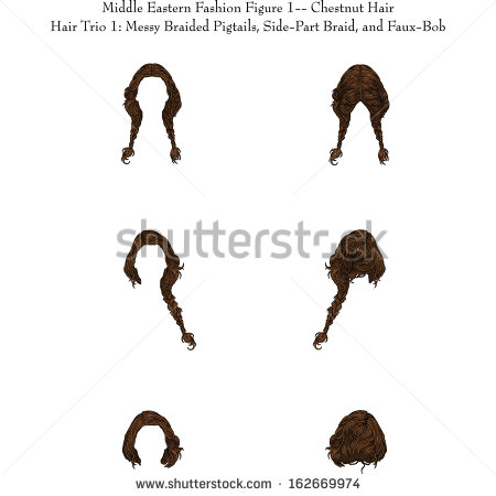 Middle Eastern Fashion Figure 1chestnut Hair Stock Vector.