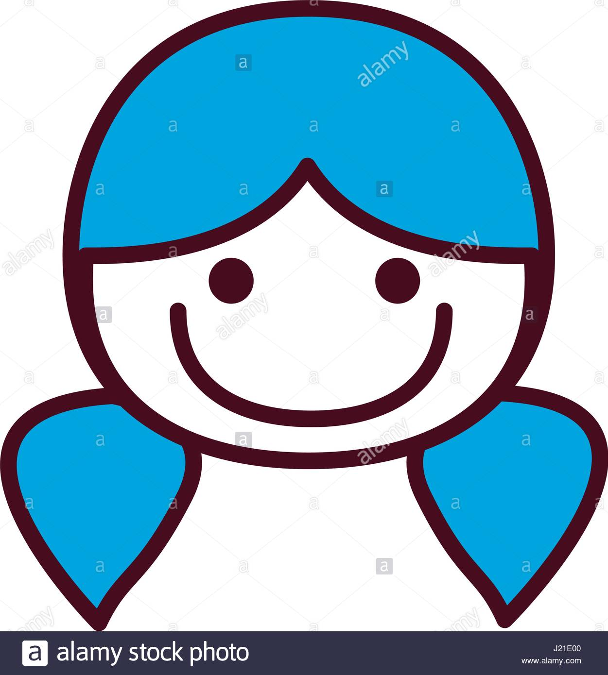 hand drawing silhouette front face girl with blue pigtails.