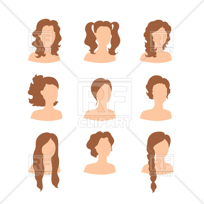 Silhouettes of women heads with different hairstyle Vector Image.