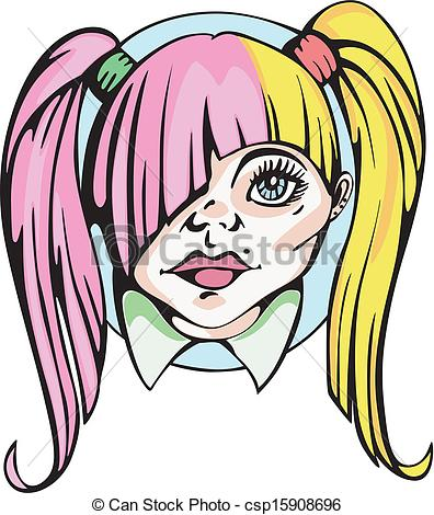 EPS Vectors of Round portrait of young cute girl with pigtails.