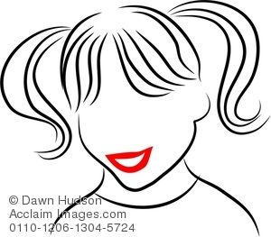 Clipart Image of Simple Line Drawing of a Little Girl With.
