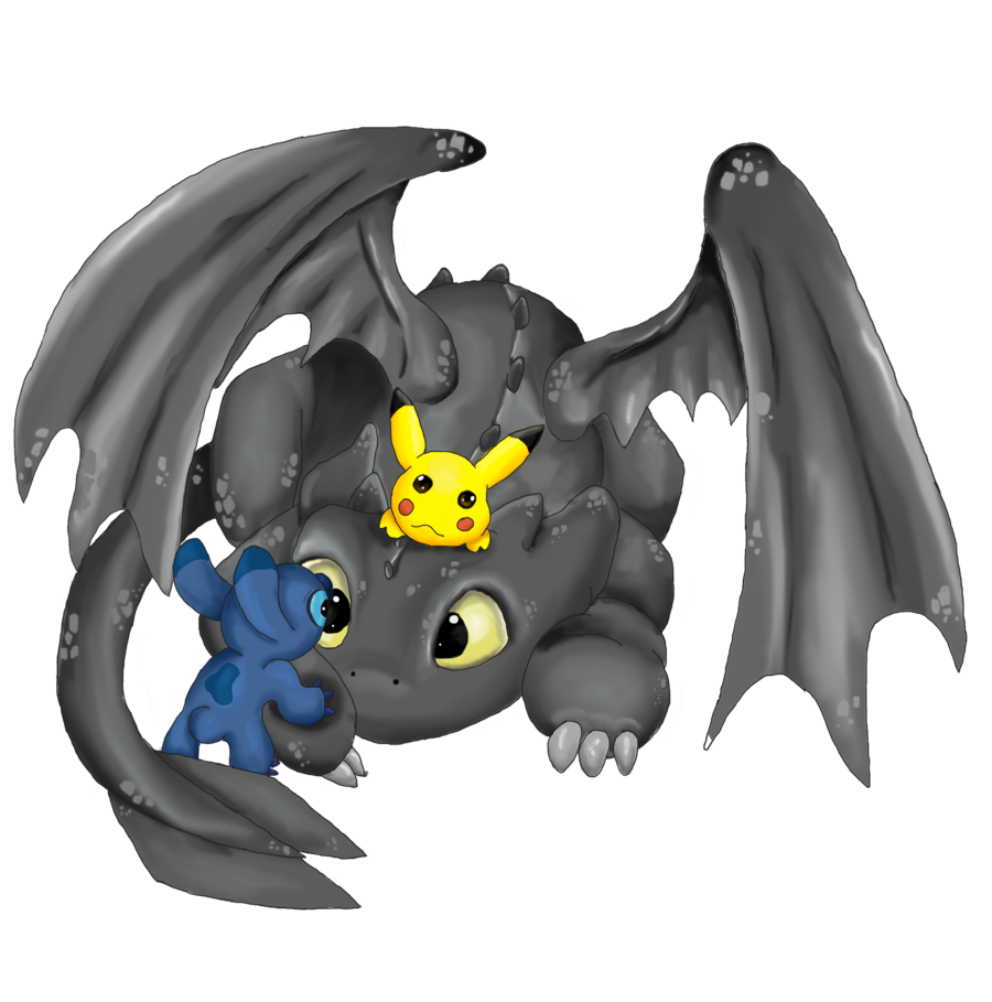 toothless, stitch and pikachu.
