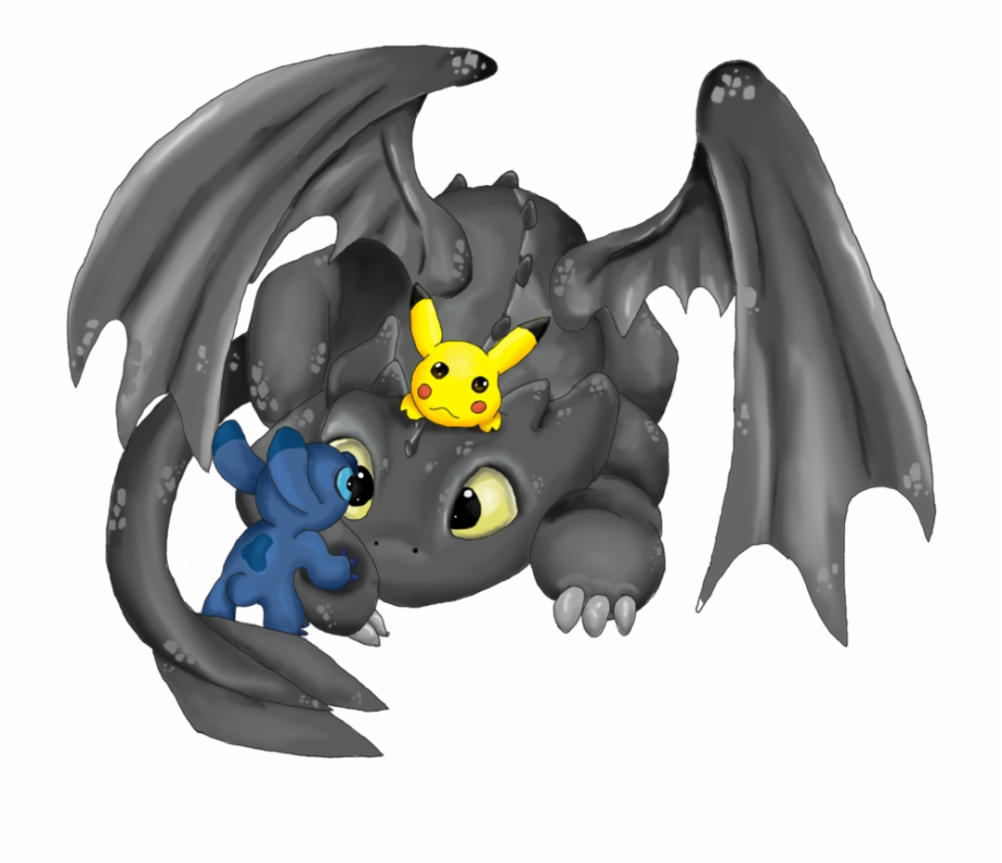 Stitch And Toothless And Pikachu , Png Download.