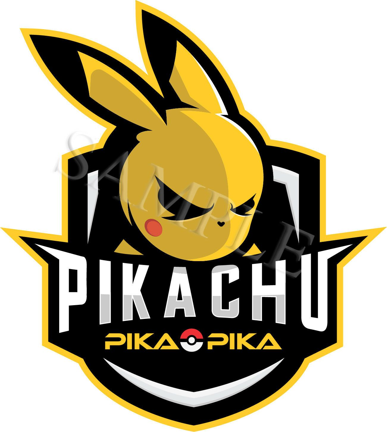 Pikachu gaming mascot logo, game, gamer car decal vinyl.