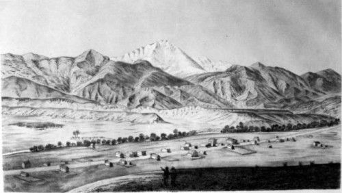 """View of Pikes Peak and Colorado City,"""" lithograph by A. E. Mathews."""