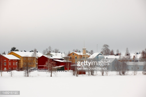 Colourful Houses In Winter On Pikisaari Island Stock Photo.
