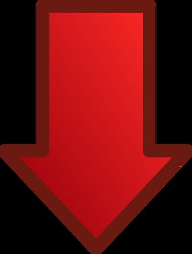 Röd pil som pekar nedåt vektorbild.