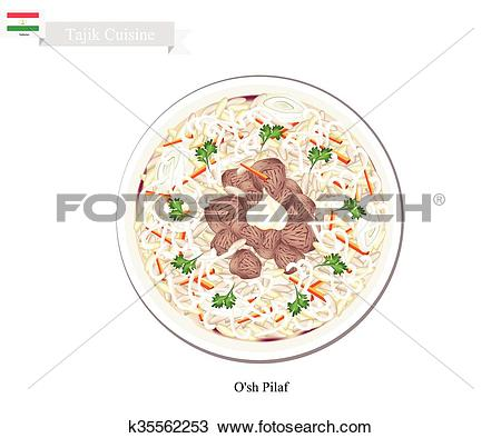 Clipart of O'sh Pilaf or Tajik Rice with Meat and Vegetables.