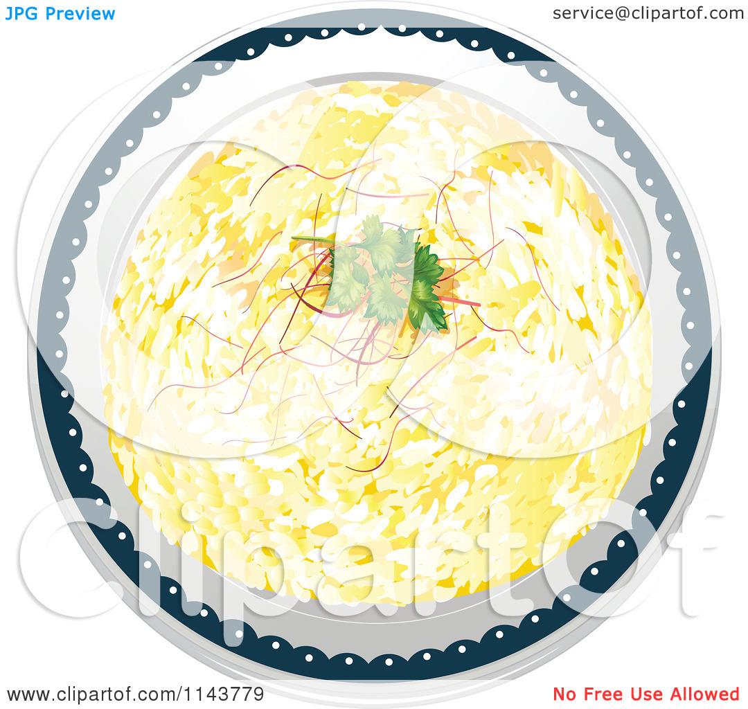 Cartoon Of A Rice Pilaf Indian Dish.