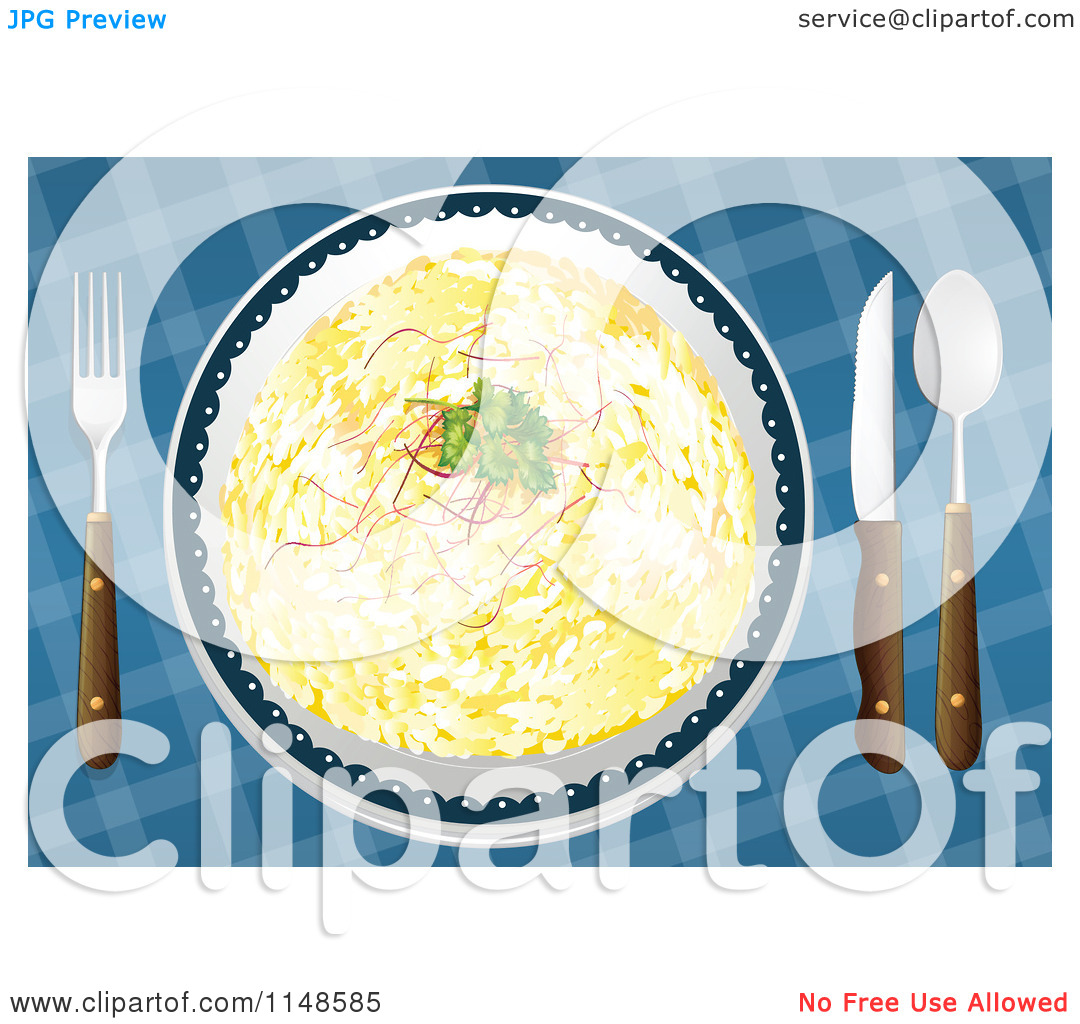 Cartoon of a Plate of Rice Pilaf.