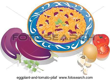 Clipart of Eggplant and Tomato Pilaf eggplant.