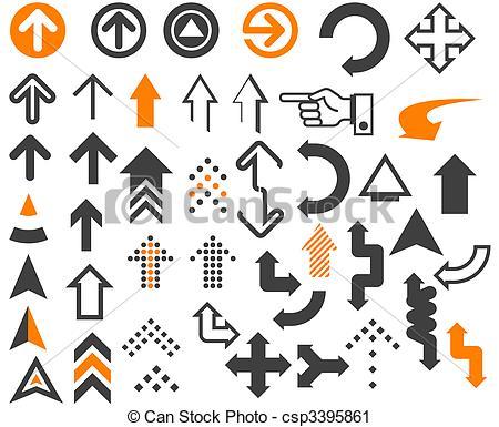 Clipart av pilar, In, olik, Stilar, och, formar, på, den, vit.
