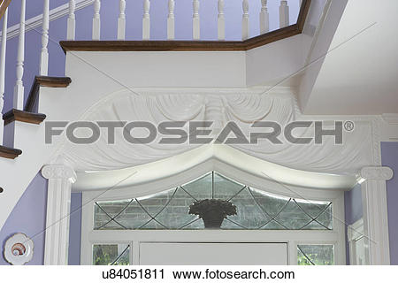Stock Photography of Architectural detail: View of top section of.