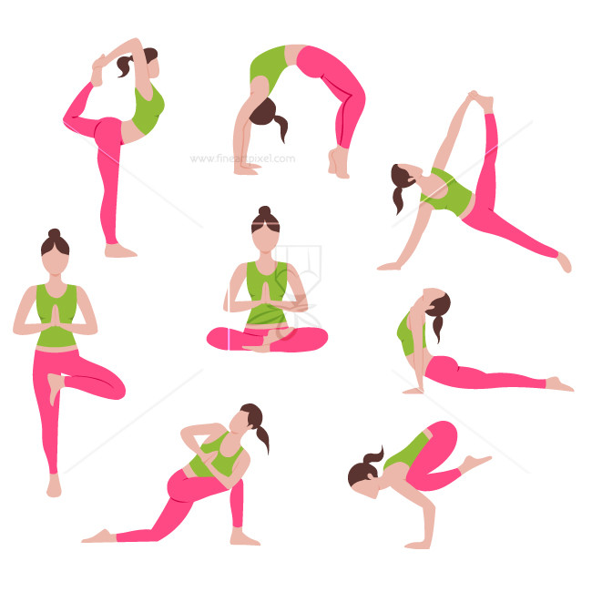 Set of yoga and pilates poses.
