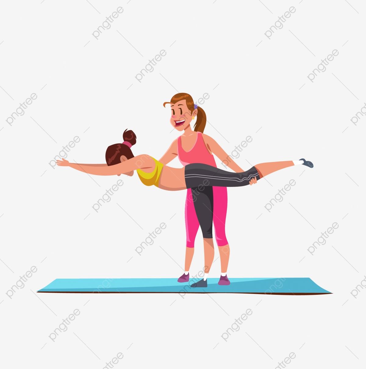 Yoga Cartoon Yoga Yoga Mat Pilates, Coach, Athlete, Work Out.