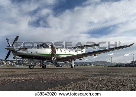 Stock Photography of Pilatus PC12 parked at Wellington Airport.