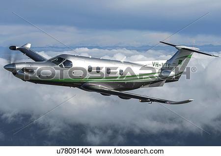 Stock Photo of Pilatus PC12NG in flight near Wellington u78091404.