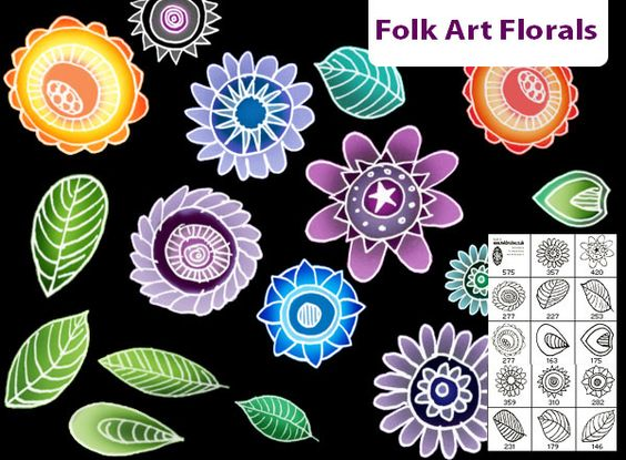 Folk art floral Photoshop brushes. Free to download from http.
